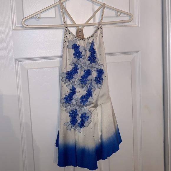 White & blue figure skating dress